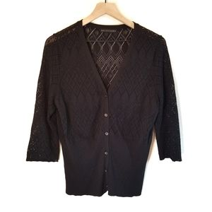 🌻Apostrophe Black 3/4 Sleeve Button Down Cardigan